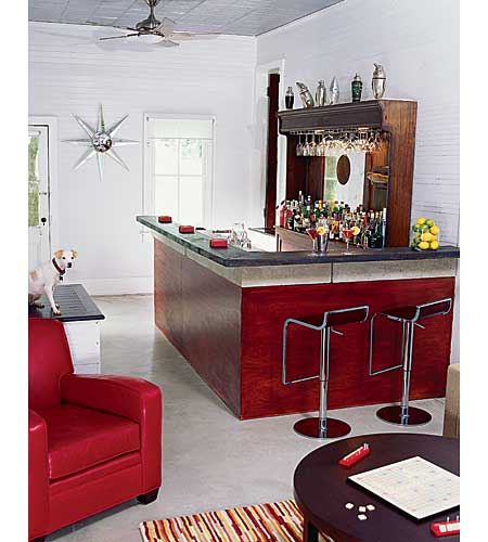 Renovated 1890s barroom with new concrete floor