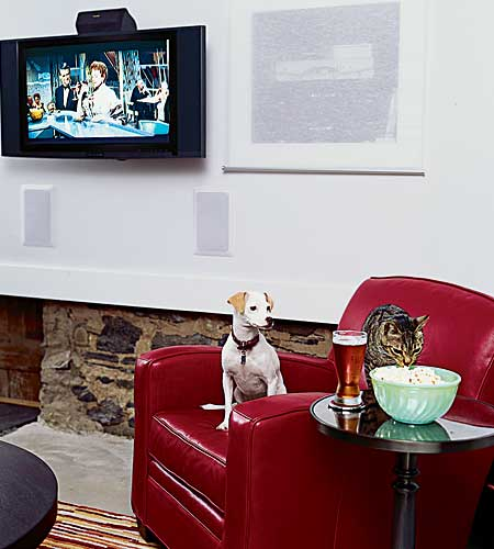 Flatscreen television in bar area