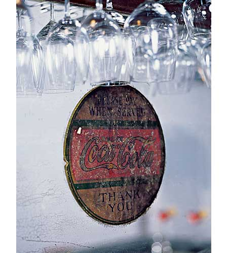 Vintage Enjoy Coca-Cola sticker on glass bar back