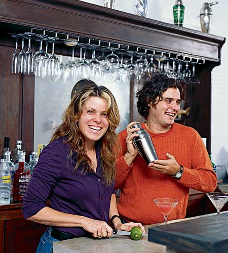 preparing cocktails in the old barroom
