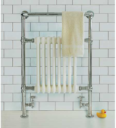 towel warmer in the style of a traditional column radiator
