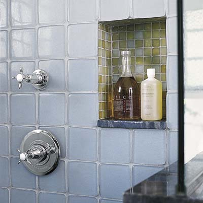 Reuse and recycle a spacious and eco friendly bath - Recycled glass tiles bathroom ...