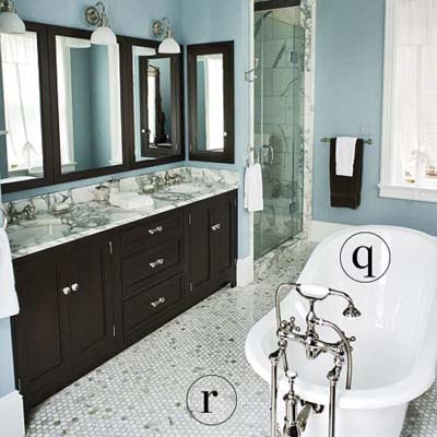 an expanded bathroom with double vanity in an 1880s farmhouse remodel and blue walls