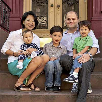 This Old House's Brooklyn Project House family on their stoop