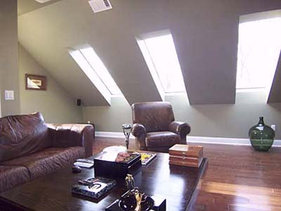 Attic turned into cigar room.
