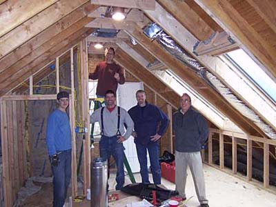 The crew in the attic .