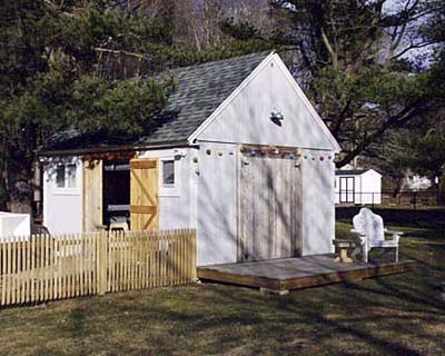 Exterior of workshop in backyard.