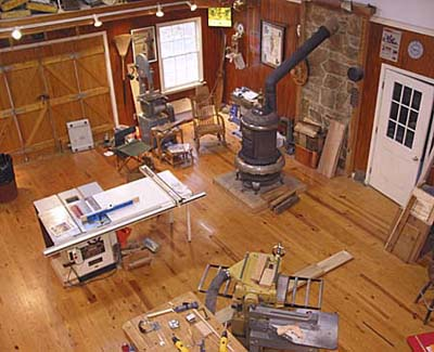 Birds-eye view of the Woodshed interior