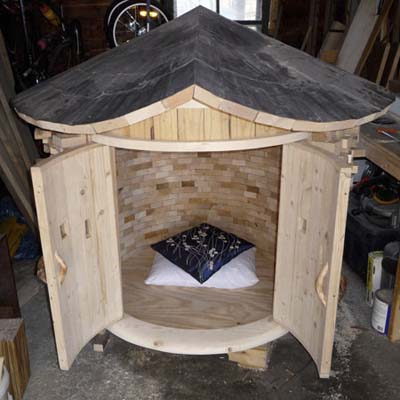 DIY meditation temple in the workshop