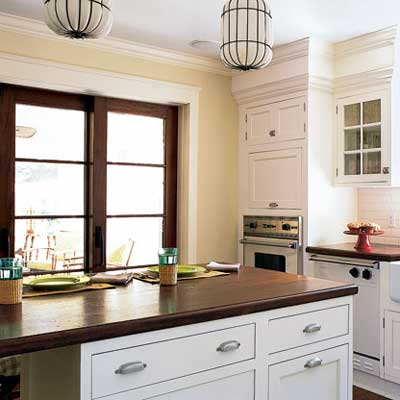 kitchen with traditional elements and French pocket doors