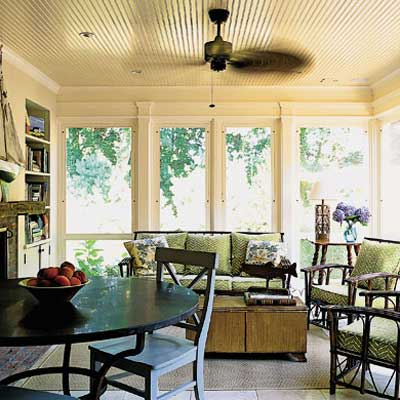 new screened porch in Sag Harbor home's addition