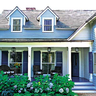 new wing with dormers and 6-foot-deep porch in Sag Harbor home