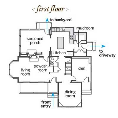 Sag Harbor remodel's first-floor floor plan