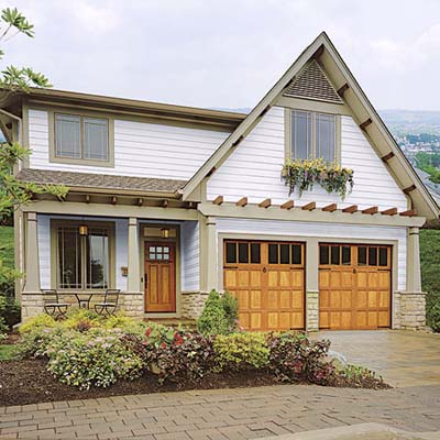 new redwood carriage-house garage doors