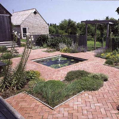 formal square pond in stone yard