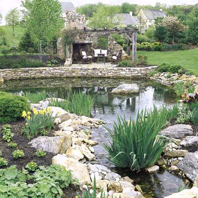Larger free-form pond surrounded by stone