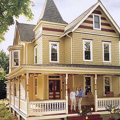 cedar siding and rebuilt front porch on 1895 Queen Anne