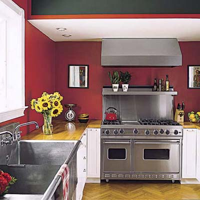 Queen Anne kitchen with no upper cabinets and undercounter refrigerators