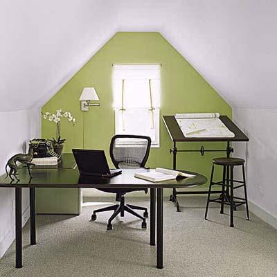carpeted third-floor office in restored Queen Anne