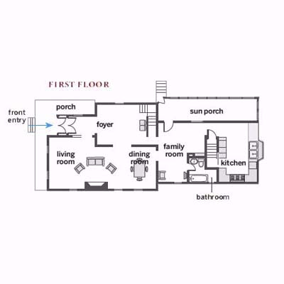 1st floor plan of 1895 Queen Anne
