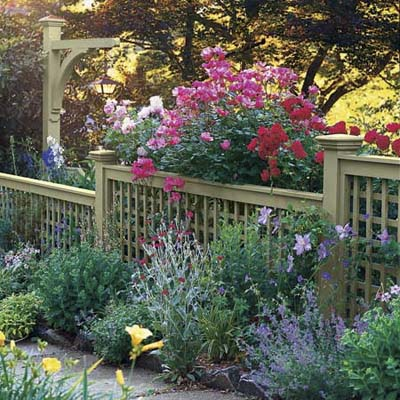 Fence with blooming floral border