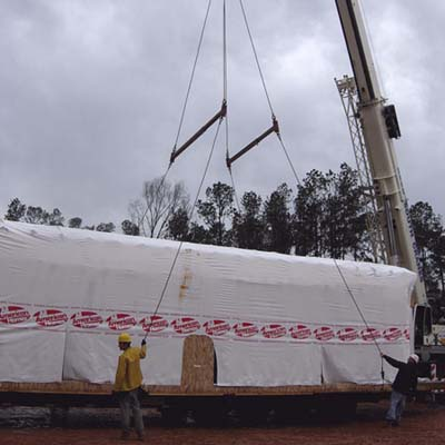 flatbed transport of house frame