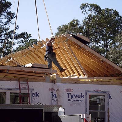 shingled roof built in segments