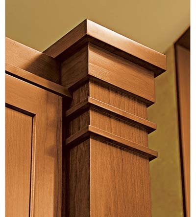 pilaster column with ribbon trim in Arts and Crafts kitchen