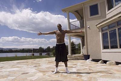 NBA star Carmelo Anthony outside his house