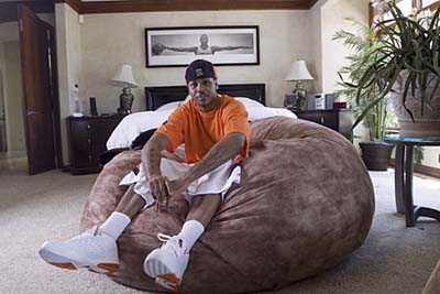 NBA star Carmelo Anthony in his bedroom