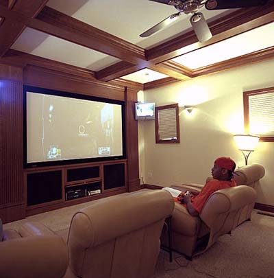 NBA star Carmelo Anthony's theater room