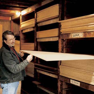 Norm Abram looks at birch venee, a finish grade hardwood plywood