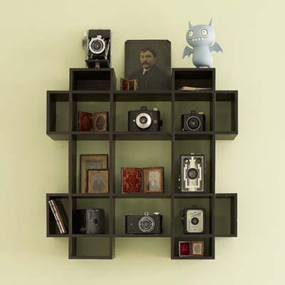 display shelves, grid, Ice Bat, cameras, photos