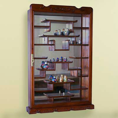 display case, wood-framed glass case, tiers, Russian dolls