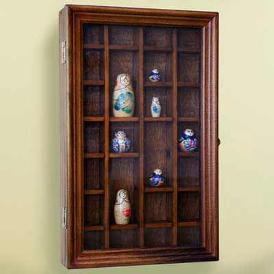 display case, wood-framed glass case, hinges, compartments, Russian dolls