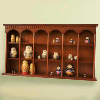display case, wooden, tiered, arches, Russian dolls