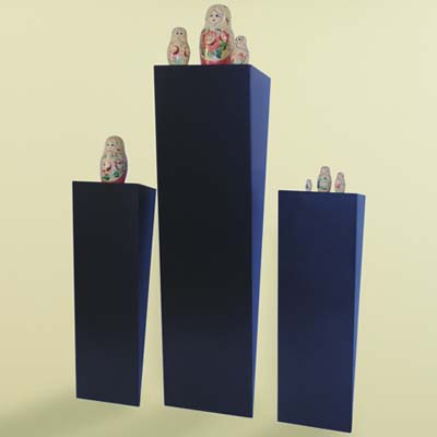display shelves, blue, wedge-shaped, Russian dolls