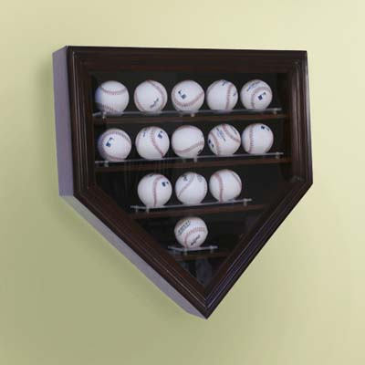 display case, wood-framed glass case, baseballs, home plate shaped