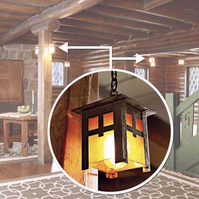 Japanese-style lanterns in Craftsman Farms
