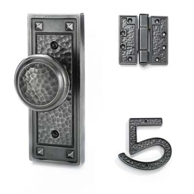 Craftsman-style hammered hardware