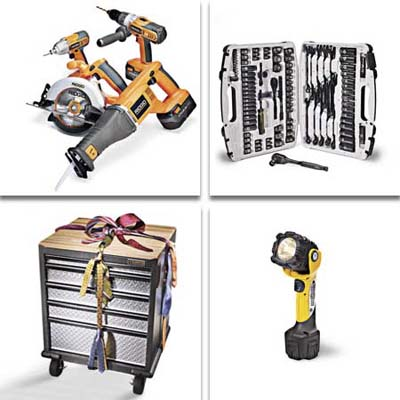 garage workshop organizer, cordless recip saw, heavy-duty flashlight, and a ratchet set