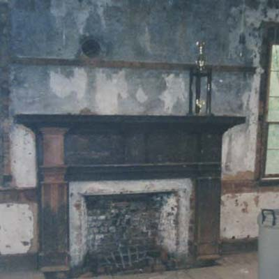 Federal fireplace and mantel before remodel