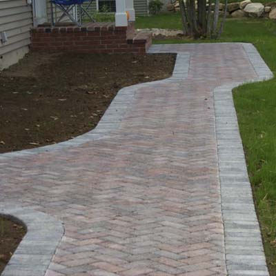 paver walkway and patio after