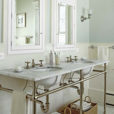 vintage-look console double sink and medicine cabinets