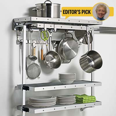 stainless steel open shelving, pots, pans, utensils, editor's pick, Colette Scanlon
