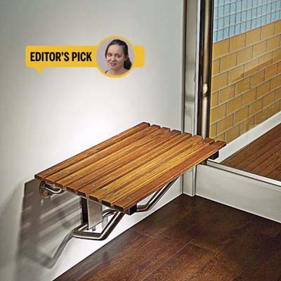 teak shower seat and floor, bath products, editor's pick, Jennifer Brite