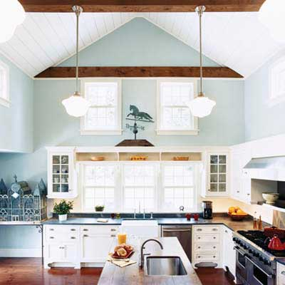 clerestory windows in double-height kitchen
