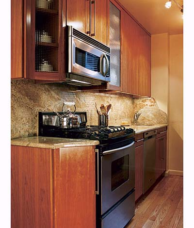 Efficent galley layout a chef 39 s small kitchen this old for Small kitchen cabinets
