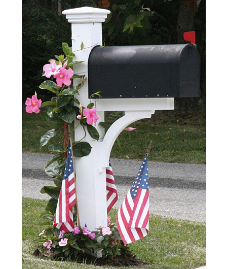 White mailbox post