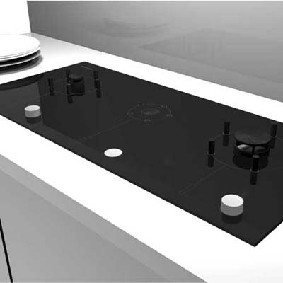 Sleek cooktop with gas burners that lower out of sight when not in use from Fisher Paykel
